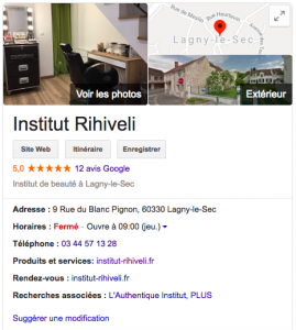 Exemple d'un Google My Business