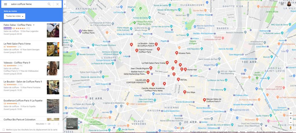 Carte des coiffeurs du 9ème Arrondissements
