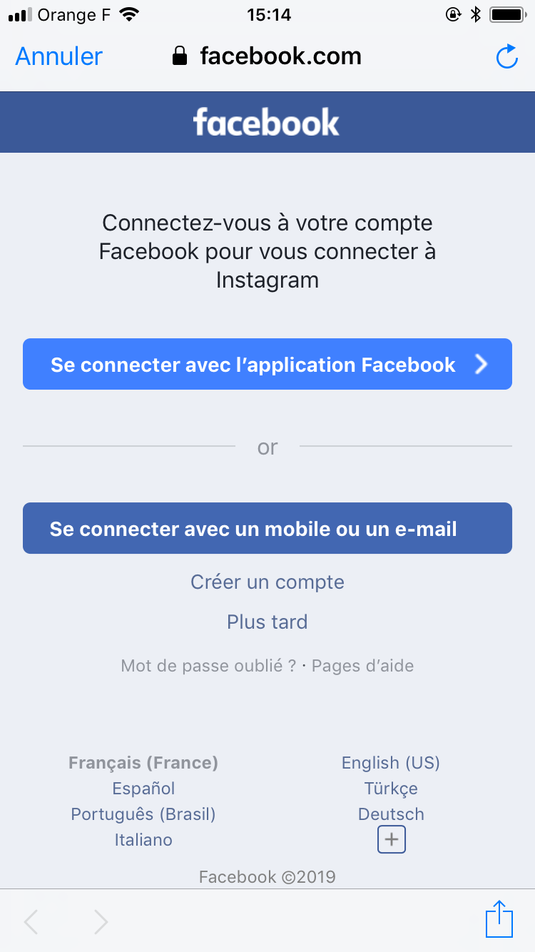 se connecter avec l'application