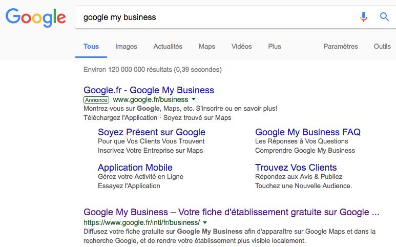 Google My Business dans Google